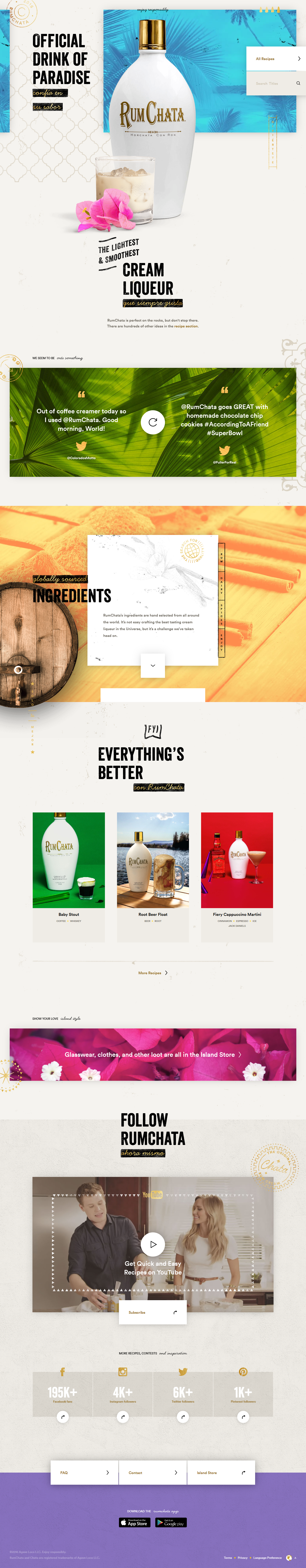 rumchata web design 2016